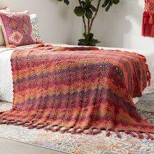 Caron® Big Cakes™ Ocean Waves Crochet Blanket in Cranberry Crisp