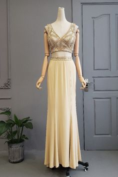 Stunning Two Pieces Long Champagne Jersey Beaded Prom Evening Dress V Neck Low Back Winter Prom Dresses, Evening Dresses, Formal Dresses, Orange Blush, Purple Grey, Platinum Grey, Prom Dresses Online, Bridesmaid Dresses, Wedding Dresses