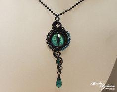 DRAGON EYE NECKLACE  wirewrapped necklace evil eye necklace by bodaszilvia on etsy