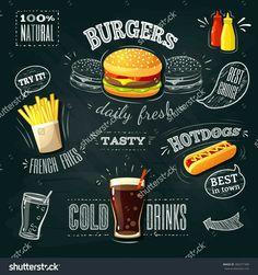 Chalkboard fastfood ADs hamburger, french fries and hotdog. Menu Design, Cafe Design, Food Design, Café Bar, Chalk It Up, Logo Restaurant, Restaurant Ideas, Logo Food, Chalkboard Art