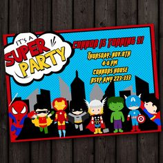 superhero invitation avengers spiderman by AmysSimpleDesigns