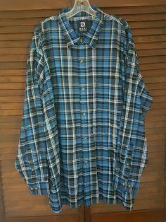 Men's Karl Kani Jeans Blue Plaid Long Sleeve Button Up Shirt Big and Tall 3X | eBay