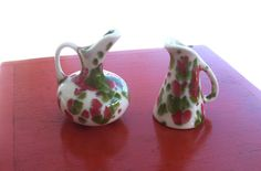 Pair of Miniature Ceramic Pitchers red white di lookonmytreasures