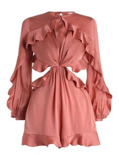 The Winsome Flutter Playsuit, from our Resort RTW 17 collection, in Guava sueded silk with fluted ruffle trim through sleeve, bodice and short cuff. Cut out detail through waist, blouson sleeves with buttoned cuffs. Side invisible zip closure, shoestring tie across back with toggle ends.