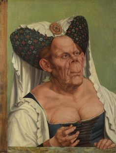 An Old Woman ('The Ugly Duchess') about 1513, Quinten Massys. Theory I ''It was probably intended to satirise old women who try inappropriately to recreate their youth, rather than as a portrait of a specific person'' says the National Gallery.  Theory II ''The research shows that she was suffering from an advanced form of Paget's disease'' according to Michael Baum, emeritus professor of surgery at UCL who, with his student Christopher Cook, investigated the portrait.