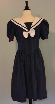 VINTAGE 1980s Navy Blue Sailor Dress by KrisVintageClothing, Sold