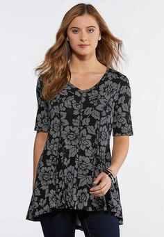 802724fc4f5 Cato Fashions Dotted Floral Top #CatoFashions Floral Style, Floral Tops, Plus  Size Tops