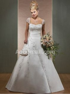 Satin Empire Off-the-shoulder Floor-length Wedding Dress - US$ 239.00