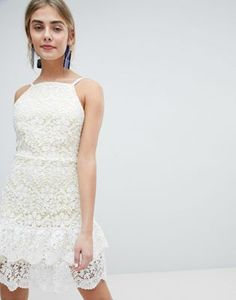 Buy Dolly & Delicious All Over Cutwork Lace Skater Dress With Peplum Hem at ASOS. With free delivery and return options (Ts&Cs apply), online shopping has never been so easy. Get the latest trends with ASOS now. Midi Skater Dress, Lace Midi Dress, White Dress, Date Dresses, Grad Dresses, Asos, Prom Dress With Train, Fishtail Maxi Dress, Going Out Dresses
