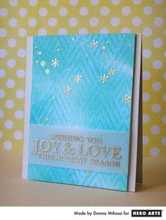 Joy & Love  By Donna Mikasa - Scrapbook.com - Made with Hero Arts stamps and stencils.