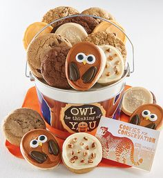 Owl Be Thinking of you Cookie Pail   Gifts for Kids   Cheryls.com   Celebrate any special occasion with a tasty assortment of Cheryl's cookies delivered in a shiny silver pail.