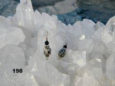 Dalmation Jasper with black onyx hematite champagne by Krystalins, $22.00