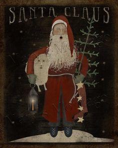 Santa Claus, Grubby, primitive, 8x10, Folk art, printable download