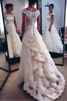 Wedding Dresses Lace #WeddingDressesLace, A-Line Wedding Dresses #ALineWeddingDresses