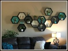 Hand Crafted Custom Hexagon Shelf ~ Shelving - Honeycomb Shelves ~ Beehive Shelf ~ Custom Shelf ~ Hexagon Wall Shelf ~ Geometric wall art This listing is for Hand Crafted Hexagon Shelf customized to fit your decor! Geometric Shelves, Honeycomb Shelves, Geometric Wall Art, Bee Honeycomb, Wall Shelves Design, Wall Design, House Design, Living Room Decor, Bedroom Decor