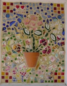mosaic picture - broken china from guest at my parents 65th anniversary party