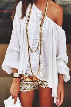 off shoulder tee and sequin shorts
