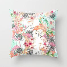 TROPICAL FLAMINGO Throw Pillow by Monika Strigel - $20.00