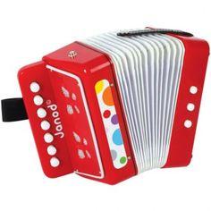 El acordeón de la colección confetti de Janod es bonito y robusto y suena muy bien.