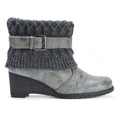 Women's Muk Luks Deena Wedge Ankle Boots - Grey 7, Durable