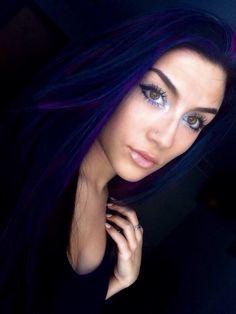 Black hair with blue highlights hair pinterest highlights blue black with purple highlights pmusecretfo Gallery