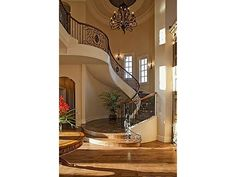 Winding staircase, French style home