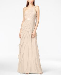 Adrianna Papell One-Shoulder Tiered Chiffon Gown - Tan/Beige 16