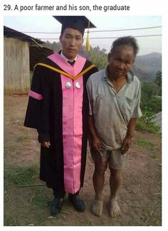 This poor farmer supported his son through college. On graduation day, the son said his father was his biggest pride. True essence of love of a father to his son. A very supporting father.