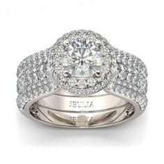 Jeulia Halo Round Cut Created White Sapphire Wedding Set - Jeulia Jewelry
