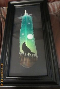 Hand Painted Wild Turkey Feathers | FRAMED Hand Painted Turkey Feather Howling Wolf by AIRBRUSHTEXAS, $24 ...