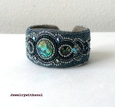 Bead embroidery  cuff bracelet with paua abalone cabochons, crystals and seed beads in rainbow peacock green blue teal and silver - Medusa