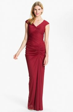 Adrianna Papell Front Twist Ruched Mesh Gown available at Nordstrom Summer Dresses Online, Red Summer Dresses, Bridesmaid Dresses Online, Prom Dresses, Formal Dresses, Mother Of Groom Dresses, Ball Gowns, Mesh, My Style