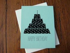 Happy Birthday with Black and White Washi Tape Cake - Handmade Birthday Greeting Card. $4.00, via Etsy.