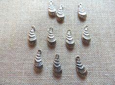 Peacock Feather Charms x 10.  Tibetan Silver  UK by Charmalushus