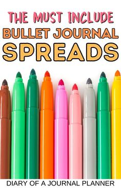 The best bullet journal spreads everyone should include in their bullet journal! #bulletjournal #bujo #spreads Best Bullet Journal Pens, Bullet Journal And Diary, Bullet Journal For Beginners, Bullet Journal Monthly Spread, Bullet Journal Printables, Journal Diary, Bullet Journal Layout, Bullet Journal Inspiration, Best Pens