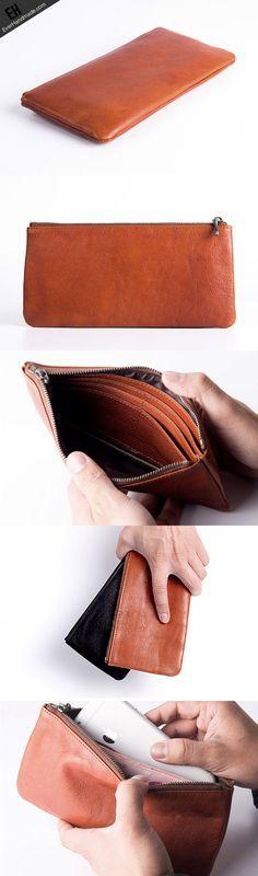 Handmade long wallet leather men phone zip clutch vintage wallet for
