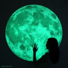 The world's largest Moonlight /XL-size, Clair De Lune (glow in the dark moon wall sticker-100cm). $178.00, via Etsy.