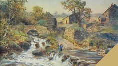 This wonderful illustration is featured on the cover of Gerald Hancock's 'Goyt Valley Romance'. It looks like an early postcard. It's interesting comparing it with photos of the stepping stones taken at a similar time. The little girl is way out of scale. It wasn't quite as precarious as it looks. Artistic license! Peak District, Stepping Stones, National Parks, Old Things, History, Bridges, Illustration, Artist, Scale