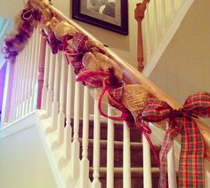 My fall banister swag. Decorating banisters beyond the Christmas holiday.