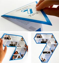 An interesting triangular brochure that is still clean-cut and professional.