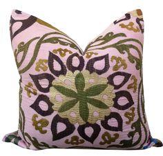 Amber Interiors Shoppe+ Lavender & Olive Suzani Pillow
