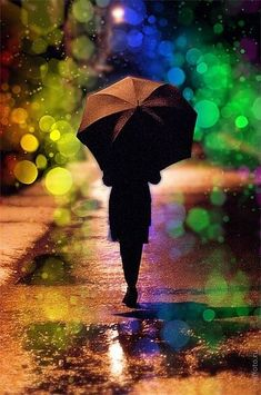 This is a beautiful rainy night shot with bokeh! I Love Rain, No Rain, Rain Umbrella, Under My Umbrella, Black Umbrella, Walking In The Rain, Singing In The Rain, Rainy Night, Rainy Days