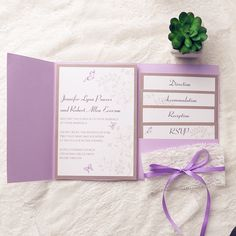 Elegant, feminine and charming, butterflies make an ideal theme for a spring or summer wedding. Shop this elegant butterfly pocket wedding invitation now and it will definitely impress all your guests!Card Type:Flat CardInvitation Card Dimensions:5.00 x 7.00 in (w x h)Response Card Dimensions:5.00 x 3.50 in (w x h)Reception Card Dimensions:5.00 x 4.50 in (w x h)Accommodation Cards:5.00 x 5.50 in (w x h)Direction Cards:5.00 x 6.50 in (w x h)Outer Envelope:7.50 x 5.56 in (w x h)Envelopes for…
