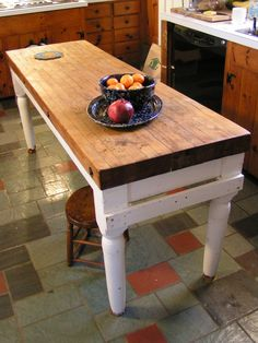 my butcher block island, found covered in grease and destined for the junk pile
