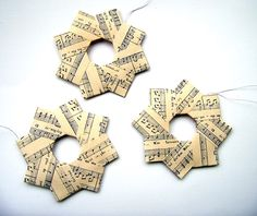 Christmas Decorations – Small Paper Wreaths - Music (Sepia) x5 – a unique product by Elderberry on DaWanda