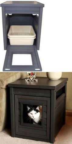Decorative Litter Box Wood Litter Box  Cat Litter Box  Decorative Cat Box  Enclosed