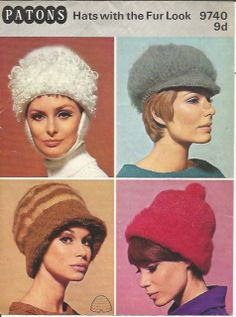 Original vintage Patons Knitting pattern - Ladys Hats with the Fur Look x 4