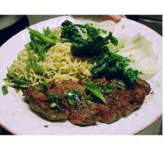 Ginger scallion steak with ramen