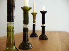 bei diesem Kerzenständer sehen viele Menschen erst auf den 2. Blick, dass er aus Flaschen gefertigt ist. Doch das Gewinde verrät, dass einmal ein ande
