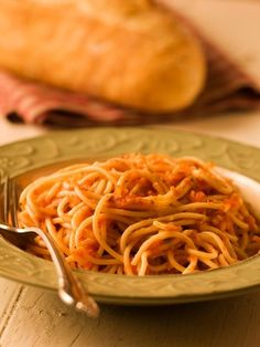Spaghetti with Hidden-Vegetable Tomato Sauce.     Kids will always eat pasta with tomato sauce but they won't always eat their vegetables—so it can help to magically, mysteriously hide them in the sauce.